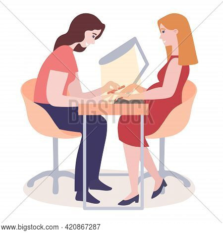 Nail Master Girl Sitting On Salon Table With Client