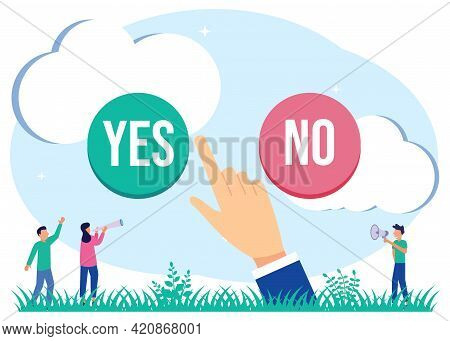 Modern Vector Illustration. The Concept Of The Option Selection Process. Symbolic Scenes With Yes Or