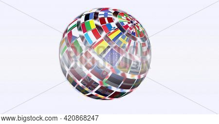 Digitally generated image of globe of different european contries against white background. european union concept