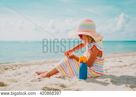 Little Girl With Suncream At Beach Vacation, Sun Protection