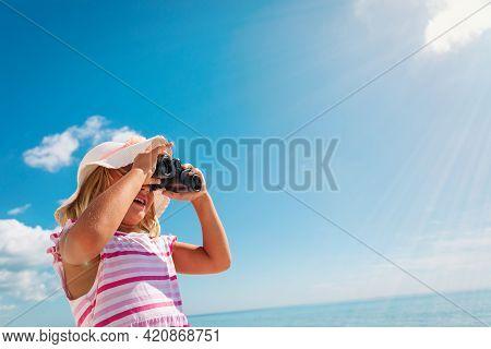 Happy Cute Little Girl Travel On Beach