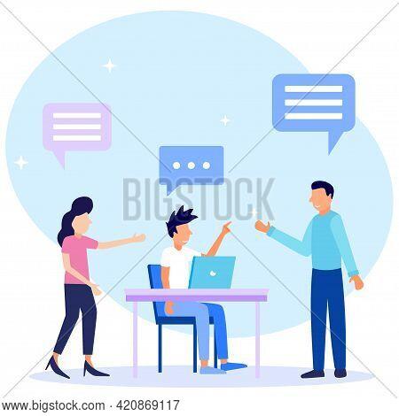 Flat Style Vector Illustration. Speech Conversation And Dialogue Talk As Communication Concepts. Sha