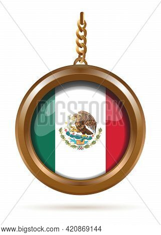 Round Gold Medallion On A Chain With The Flag Of Mexico Inside. Vector Illustration Isolated On Whit