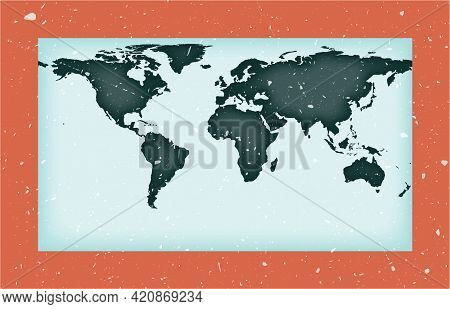 World Map Poster. Patterson Cylindrical Projection. Vintage World Shape With Grunge Texture. Cool Ve