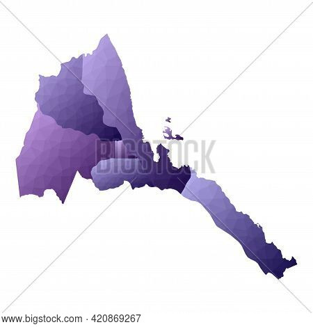 Eritrea Map. Geometric Style Country Outline. Great Violet Vector Illustration.