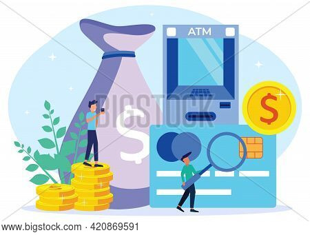 Flat Style Vector Illustration. Money Concept, Investment Management In Cards, Virtual Business Assi