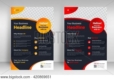 Corporate Business Flyer Template Design Set With Yellow And Red Color. Marketing, Business Proposal