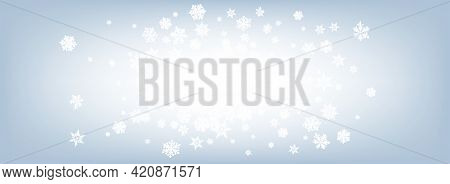 Gray Snowflake Panoramic Vector Gray Background. Falling Snow Texture. Silver Winter Banner. Abstrac