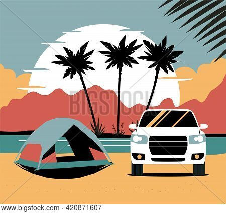 Suv Car With A Driver Tows A Trailer With A Atv. Vector Illustration.