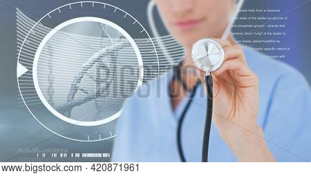 Composition of caucasian female doctor over digital interface with dna strand. global medicine and digital interface concept digitally generated image.
