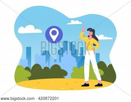 Female Tour Guide Showing Sightseeing Places. Inspired Woman Is Pointing At Architecture Cityscape.