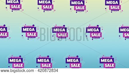 Illustration of rows of sign mega sale on blue background. retail trade sale communication concept, digitally generated image.