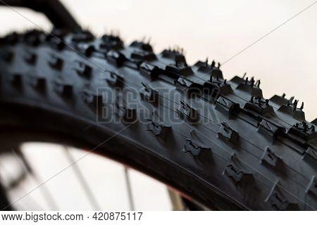 Tubeless Tyre Of Modern New Mtb Race Mountain Bike Close-up