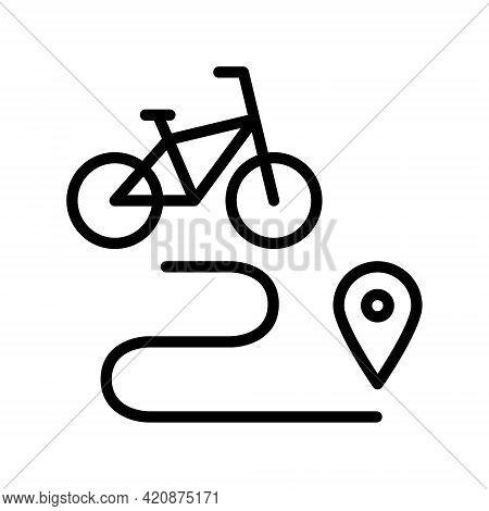 Bike Rent Flat Line Icon. Vector Outline Illustration Of Urban Transportation, Bike Sharing, Bike Re