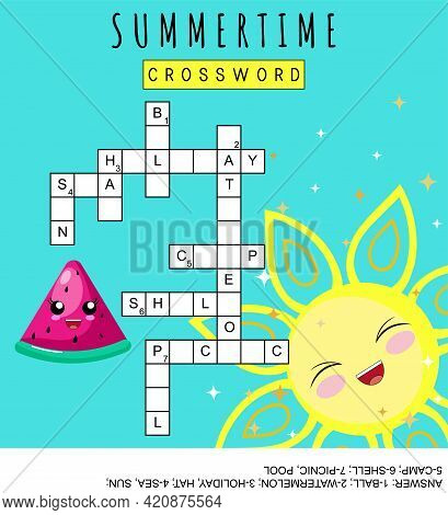 Summertime Crossword For Learning English Words. Word Search Game About Holidays. Suitable For Socia