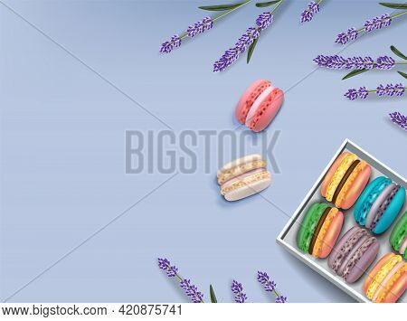 Macaroons Set And Lavender Vector Realistic. 3d Detailed Illustrations