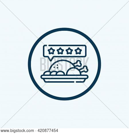 Gourmet Food Icon. Five Star Restaurant Food Plate Serving Linear Pictogram. Concept Of Eating Out T