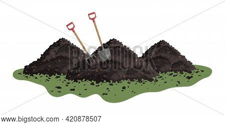Vector Pile Of Soil. Hayfork And Shovel In A Pile Of Ground. Heap Of Substrate, Humus, Fertilizer, C