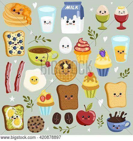 Dairy Products Kawaii Flat Vector Illustrations Set. Kawaii Breakfast.