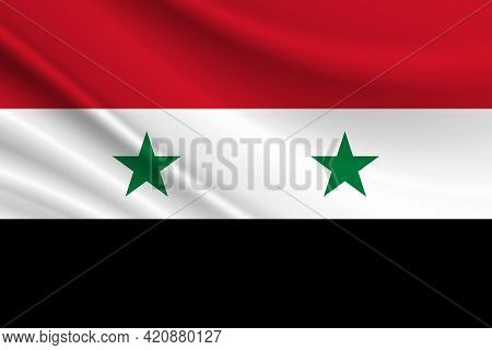 Flag Of Syria. Fabric Texture Of The Flag Of Syria.