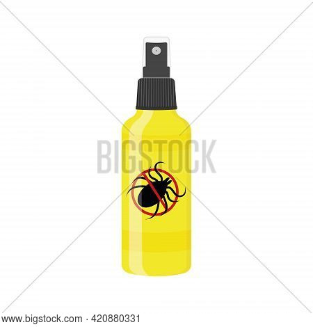 Mite Spray Icon Isolated On White Background. Repellent Insect Bottle With Forbidden Anti Tick Sign.