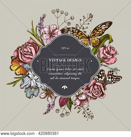 Badge Over Design With Shepherd S Purse, Heather, Iris Japonica, Sakura, Gypsophila, Almond, Lemon B