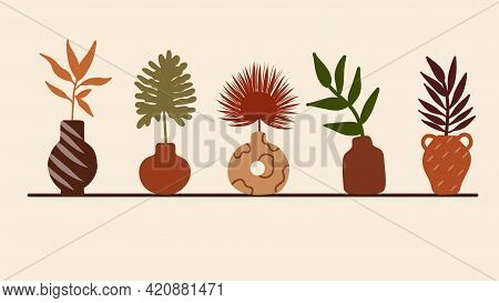 Vases, Pots And Plants, Abstract Elements, Modern Greek Vase, Tropical Leaves. Decorative Stylized V