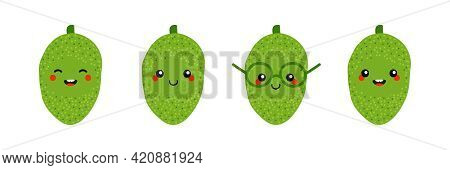 Set, Collection Of Cute Smiling Cartoon Style Jackfruit Characters For Food Design.