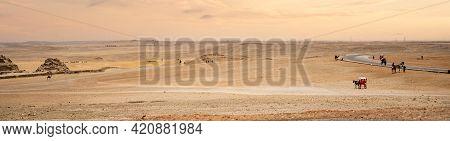 Egyptian Desert. Panoramic Shot. Egyptian Desert In Giza. Landscape In Egypt. Pyramid In Desert. Afr
