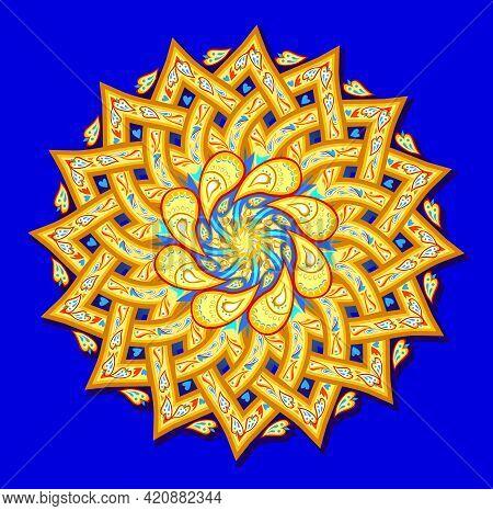 Round Geometric Mandala With Ethnic Motifs. Medallion With Fantasy Oriental Ornament. Indian Traditi