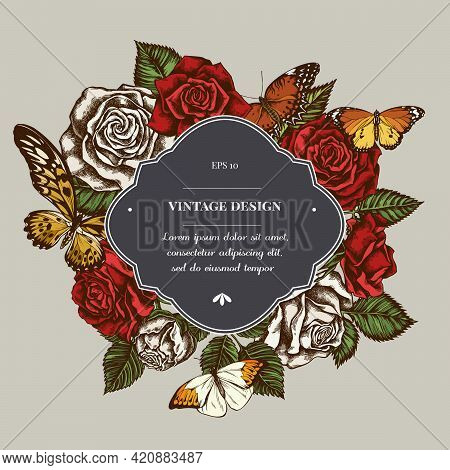 Badge Over Design With Red Lacewing, African Giant Swallowtail, Great Orange-tip, Plain Tiger, Roses
