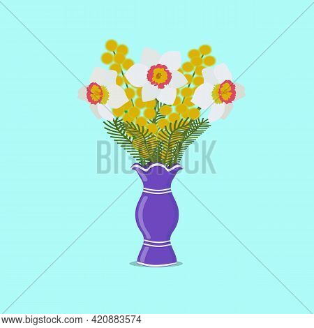 Spring Flowers In A Vase. Daffodils With Mimosa.