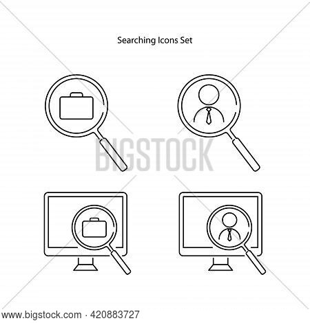 Job Search Icon Isolated On White Background From Human Resources Collection. Job Search Icon Thin L