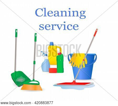 A Set Of Tools For Cleaning The House. Brush, Scoop, Mop, Bucket, Gloves, Spray, Bottles Of Cleaning