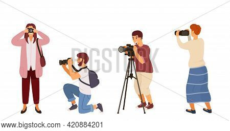 Illustration Of Men And Women Holding A Camera In Various Poses.photographers Vector Set. Isolated O