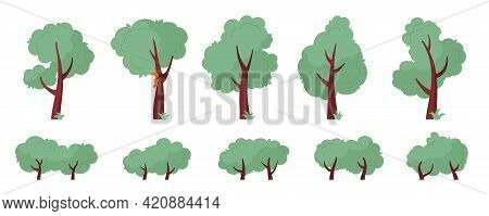 Set Of Abstract Trees And Bushes Of Various Shapes. Cartoon Tree Shape Illustration In Flat Style. V