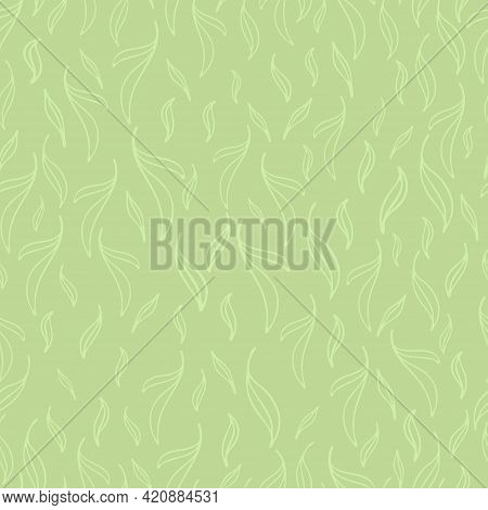 Pastel Green Leaves Seamless Patterns Set. Botanical Floral Hand Drawn Lineart Flower Elements. Pack