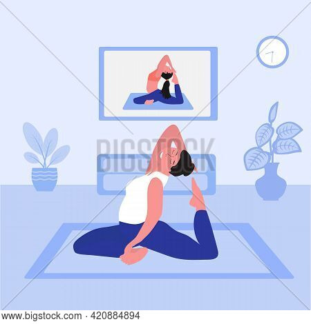 Yoga Online Concept. Yoga Pose, A Girl Watches Online Lessons On A Smart Tv And Repeats After The In