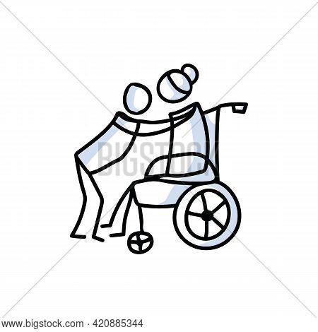 Drawn Stick Figure Of Senior Woman Hugging Grandchild. Elderly Embrace Covid 19 Support Illustrated