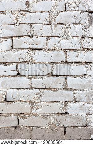 Old Brickwork Made Of White Brick, Vintage Wall