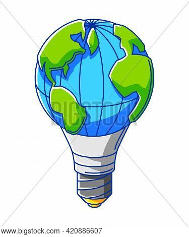 Illustration Of Earth Globe As Light Bulb. Ecology Icon For Environment Protection.