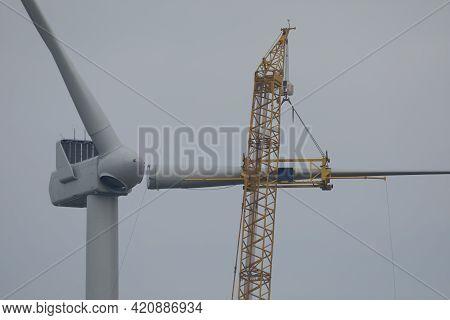 A Crawler Crane Is Hoisting A Rotor Blade Of A New Wind Turbine
