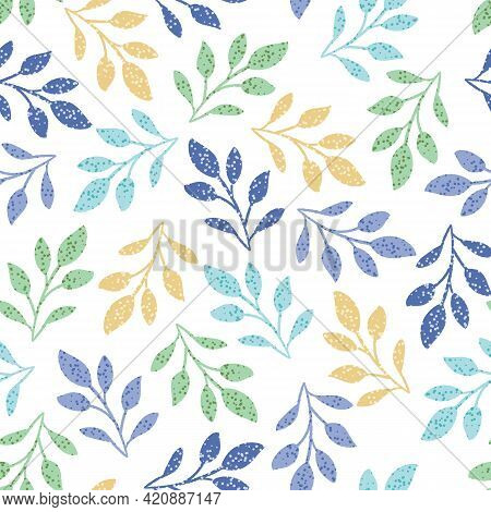 Colorful Tossed Polka Dot Leaves Seamless Pattern Background