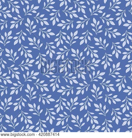 Blue Tossed Leaves Seamless Pattern Background Texture