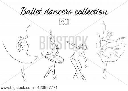 One Line Ballet Dancers In Different Poses Collection. Continuous Line Art Ballerinas Set. Ballet Da