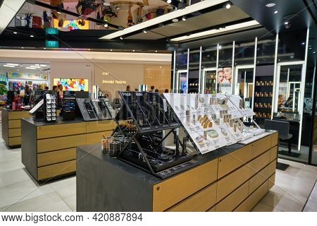 SINGAPORE - CIRCA JANUARY, 2020: make up products on display at MAC store in Nge Ann City shopping center.