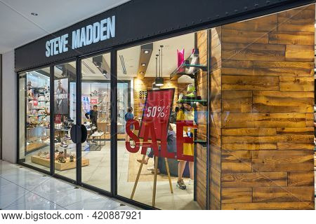 SINGAPORE - CIRCA JANUARY, 2020: entrance to Steven Madden store in Nge Ann City shopping center.