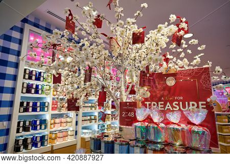 SINGAPORE - CIRCA JANUARY, 2020: goods on display at Bath and Body Works store in Nge Ann City shopping center.