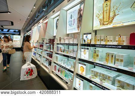 SINGAPORE - CIRCA JANUARY, 2020: interior shot of Sephora store at Nge Ann City shopping center.