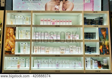 SINGAPORE - CIRCA JANUARY, 2020: Christian Dior fragrances on display in Sephora store at Nge Ann City shopping center.